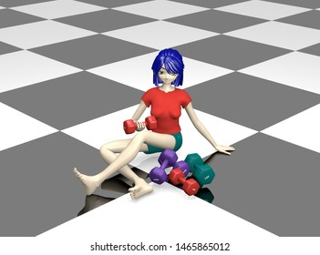 pretty 3d girl with different dumbbells on black-white floor with reflection. 3d rendering