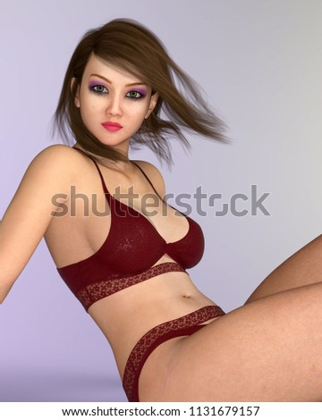 3bcb6b6b629 Pretty Asian woman in lingerie with blowing hair Computer generated 3D  illustration