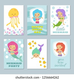 Pretty baby mermaids birthday greeting card templates