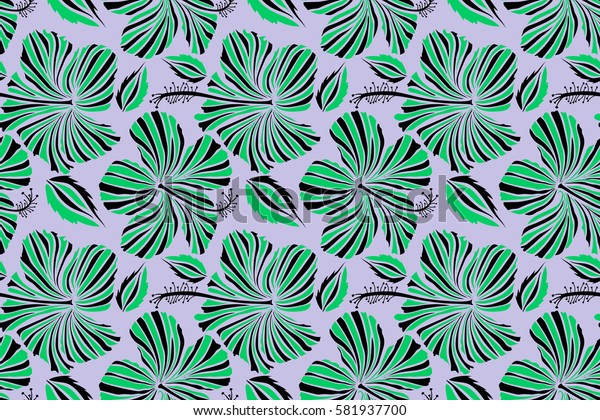 Pretty black and green floral print. Motley seamless pattern. Hibiscus flower background.