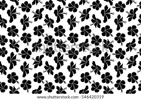 Pretty black white floral print motley stock illustration 546420319 pretty black and white floral print motley seamless pattern hibiscus flower background mightylinksfo