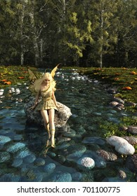Pretty blonde fairy sitting on a rock and paddling her feet in a forest stream, digital illustration (3d rendering)