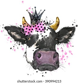 Pretty cow watercolor illustration for Tee shirt graphics, fashion print, poster, textiles