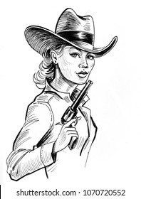 Pretty cowgirl with a gun. Ink black and white illustration