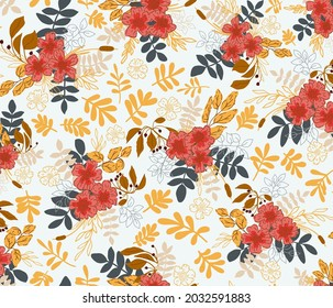 Pretty fall flowers in half-drop repeat pattern. Can be used for cards, wallpaper, fabric, textiles, wrapping paper, backgrounds etc.