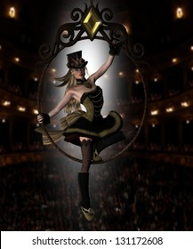 Pretty female circus diva sitting in a jeweled circus hoop with audience behind her and backlit dressed in a Steampunk outfit and hat.
