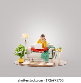 Pretty female working on laptop computer sitting on a couch at her home office. Studying, freelance and home office concept. Unusual 3d illustration