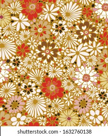 Pretty flowers made of love hearts half-drop repeat pattern.  Colorful 70s style floral pattern.  Can be used for cards, wallpaper, fabric, textiles, wrapping paper, backgrounds etc.