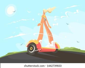 Pretty girl blonde speed transporting on gyroscope. flat illustraion