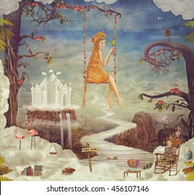Pretty girl on a swing in   sky . City of children on fantastic clouds  ,illustration art