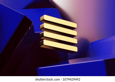 Pretty Golden Align Text to Justify Icon With the Blue Glossy Boxes. 3D Illustration of Fine Golden Align, Alignment, Center, Hamburger, Justify, Menu, Text Icon Set on the Blue Geometric Background.