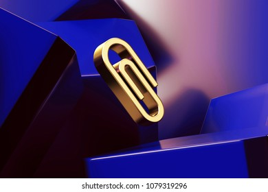 Pretty Golden Paperclip Icon With the Blue Glossy Boxes. 3D Illustration of Fine Golden Attach, Attached, Attachment, Element, Fastener, Paper Icon Set on the Blue Geometric Background.