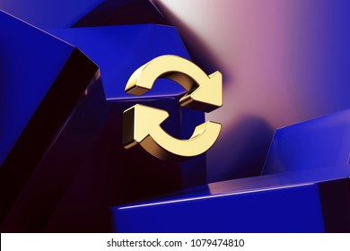 Pretty Golden Refresh Music or Video Icon With the Blue Glossy Boxes. 3D Illustration of Fine Golden Replay, Arrows, Refresh, Rotation Icon Set on the Blue Geometric Background.