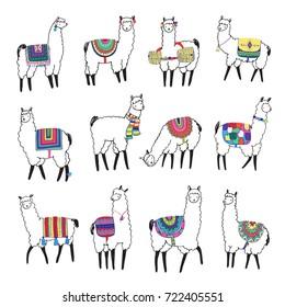 pretty lama animal doodle illustrations set