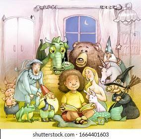 pretty little girl reading a magic fairy tale book fantasy concept