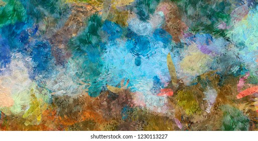 Pretty oil painting abstraction. Print art for wall decor. Impressionism style spring collection. Chaotic conceptual brush strokes on canvas. Warm colors background for rich creative graphic design.