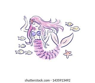 Pretty Pink Mermaid Girl Princess