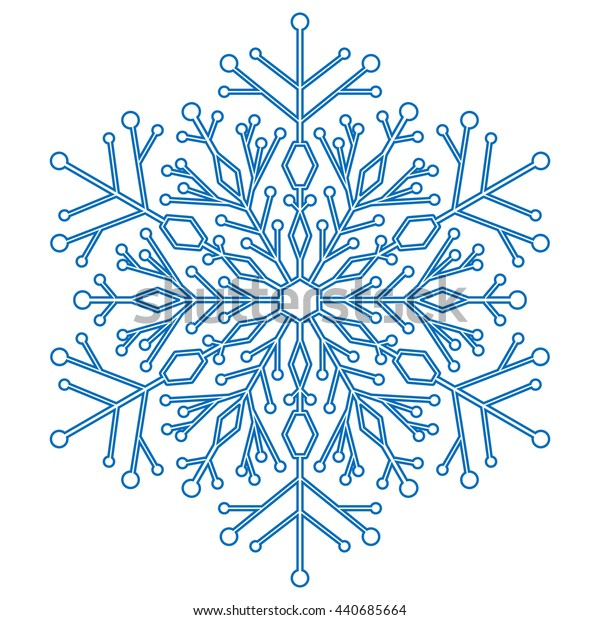 Pretty round blue snowflake. Abstract winter ornament