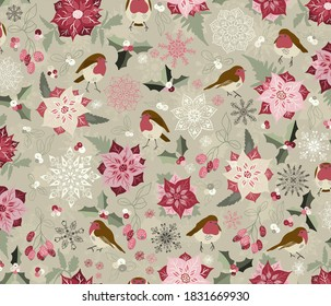 Pretty seamless Christmas pattern with robins, holly, mistletoe, snowflakes and poinsettia on Light Green