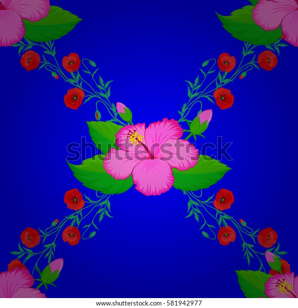 Pretty varicolored floral print. Motley floral seamless pattern on a blue background. Abstract flower background.