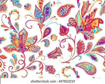 Pretty vintage feedsack pattern in flowers, paisley. Millefleurs. Floral sweet flores seamless background for textile, covers, fabric, wallpapers, print, gift wrap, scrapbooking,  decoupage, quilting.