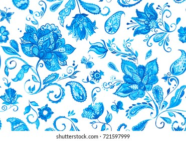 Pretty vintage feedsack pattern in flowers, paisley. Millefleurs. Floral doodle flores seamless background for textile, covers, fabric, wallpapers, print, gift wrap, scrapbooking,  decoupage, quilting