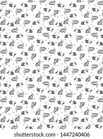 Pretty white stylized rabbits on white background, seamless vector pattern- Rabbit Hearts