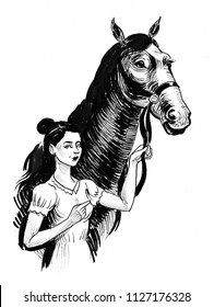 Pretty woman with a black horse. Ink black and white illustration