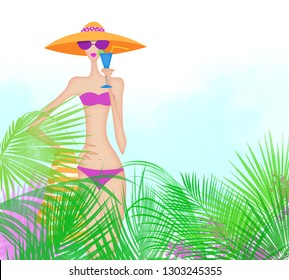 Pretty young woman in a bikini among tropical palm leaves and hot pink flowers
