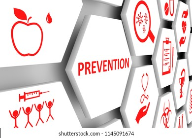 PREVENTION concept cell background 3d illustration