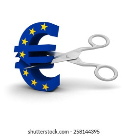 Price Cut Concept - EU Flag Euro Symbol cut with scissors