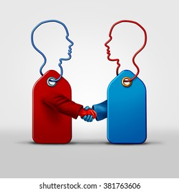Price fixing business agreement and collusion concept as two price tag objects shaped as a human as a symbol for secret pricing deal with a handshake as a metaphor for market deceptive practices.