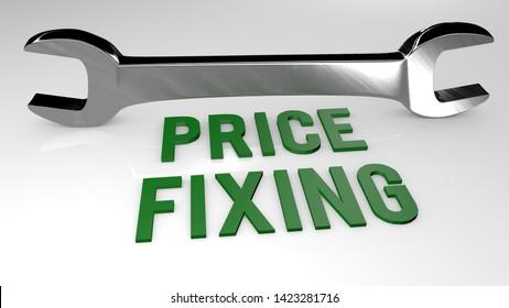 Price Fixing title concept illustration. 3D render illustration.