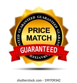 Price Match Guarantee Gold Label Sign Template  Illustration