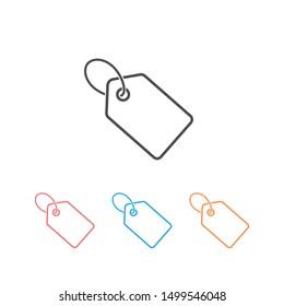 Price tag icon set line symbol illustration on white background