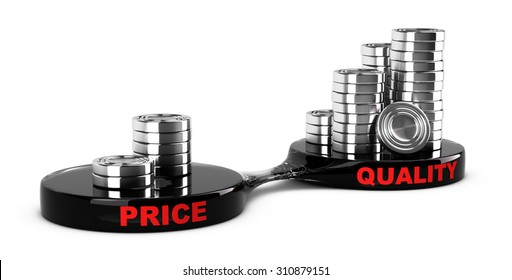 Price vs quality concept, abstract coins piles. Conceptual image for business cost management for a value added product.
