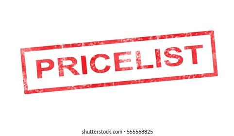 Pricelist in red rectangular stamp