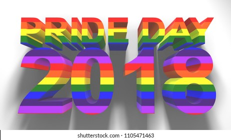Pride Day 2018 Gay Pride LGBT Mardi Gras graphic title 3D render. The letters LGBT & LGBTQIA refer to lesbian, gay, bisexual, transgender, queer or questioning, intersex, and asexual or allied.