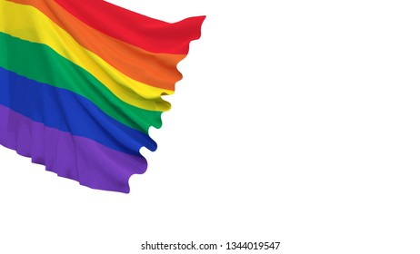 Pride rainbow flag swaying over part of the illustration. 3d rendering.