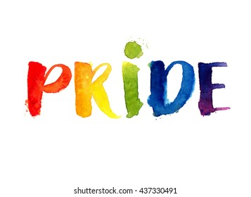 Pride. Rainbow word isolated on white background. Watercolor lettering. Gay parade symbol
