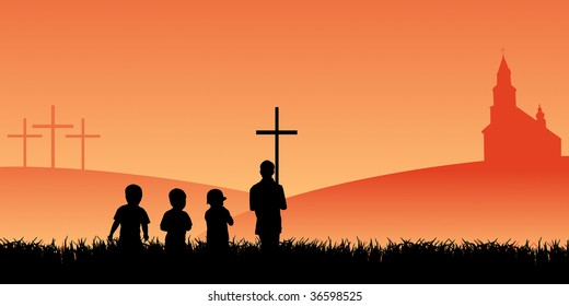 priest with cross and group of young pilgrims going to the church under cloudy sky at sunset