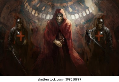 priest leading two knights