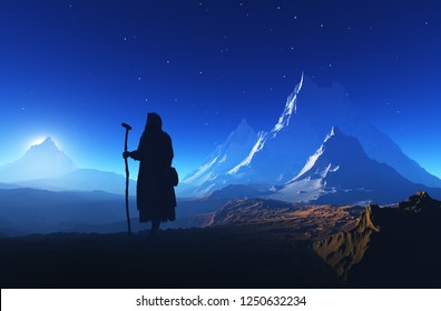 Priest piously on the mountain.3d render