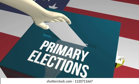 Primary elections ballot 3D render illustration
