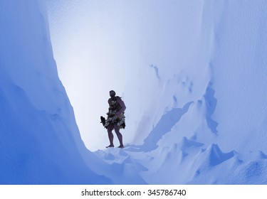 Primitive man in the ice cave.