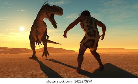 Primitive man runs from the dinosaur..,3d render