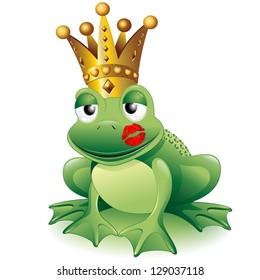 Prince Frog Cartoon Clip Art with Princess Kiss