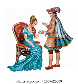 prince and princess at the ball, a gentleman invites a lady to dance, marriage proposal, date and declaration of love, isolated characters on a white background