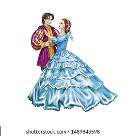 prince and princess dancing at the ball, lovingly looking at each other, isolated characters on a white background