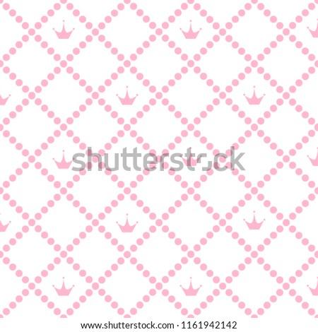 Princess Background Pattern Pink Crown Stock Stock Illustration